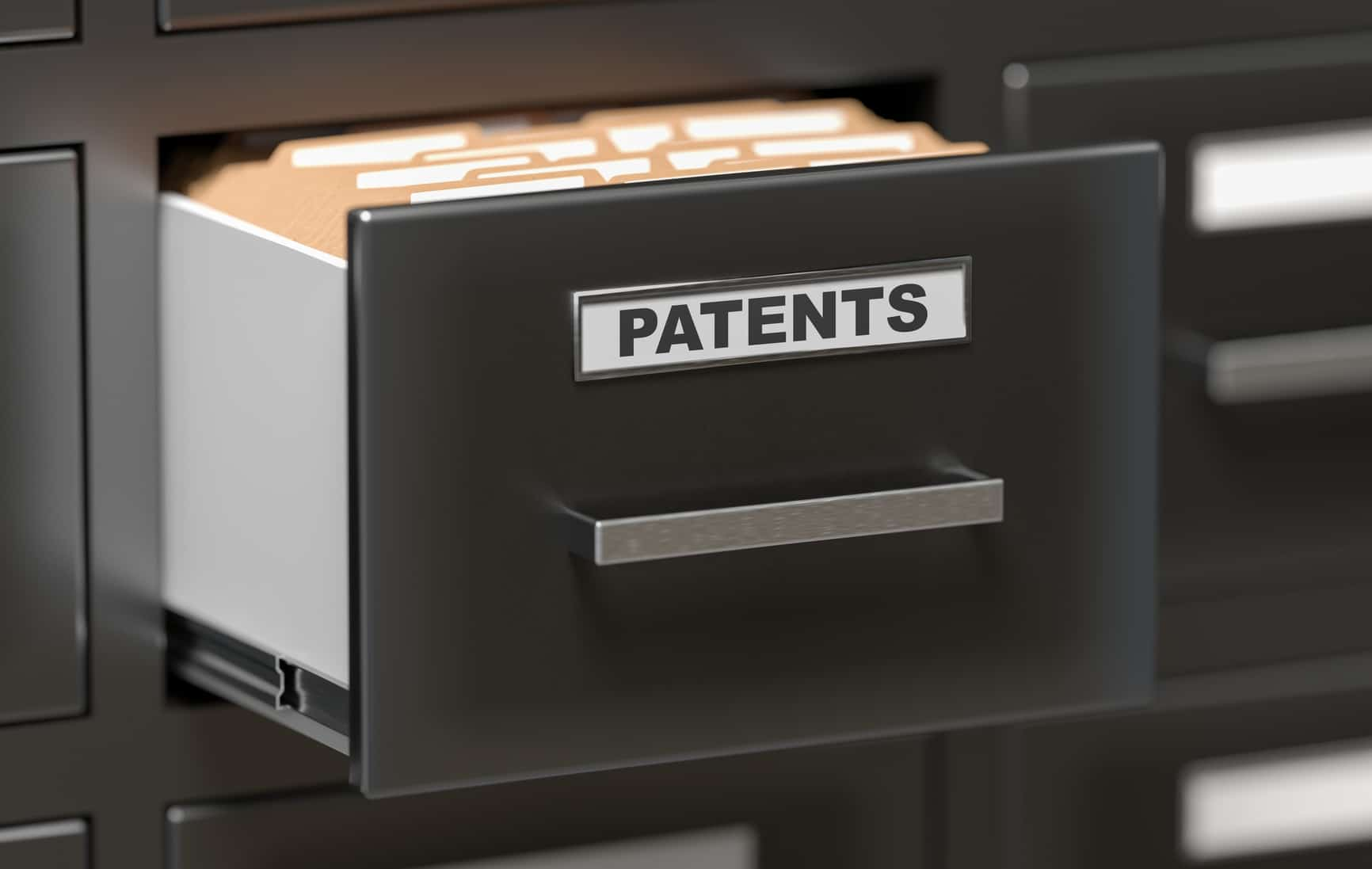 Patent files and documents in cabinet in office. 3D rendered illustration.